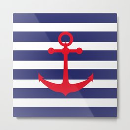 AFE Nautical Red Ship Anchor Metal Print