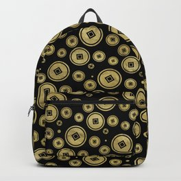 Chinese Coin Pattern Gold on Black Backpack