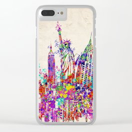 New York skyline colorful collage Clear iPhone Case