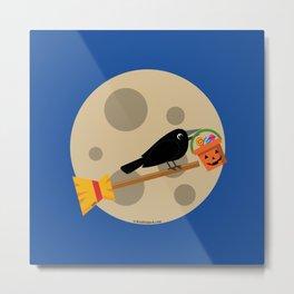 Halloween: Crow Riding a Broom on a Full Moon Metal Print