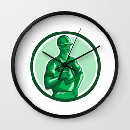 Green Construction Worker Nailgun Circle Retro Wall Clock