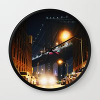 dumbo Wall Clocks featuring Dumbo, Brooklyn by Dominique Weber