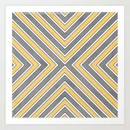 Stripes in Grey and Yellow-bold Art Print