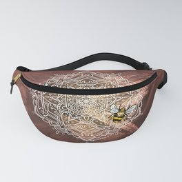 Bee Dance Mandala A - Textured Rose Gold Fanny Pack