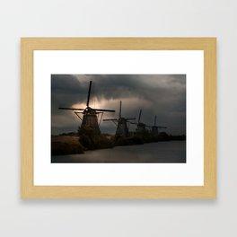 Dutch Windmills in Kinderdjik Framed Art Print