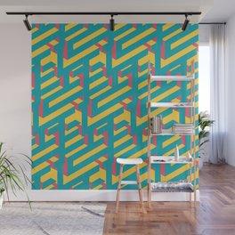 Retro 80s Isometric Pattern Wall Mural