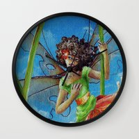 marianna Wall Clocks featuring Marianna - Heliconia Haute Couture by Lauralin Maynard