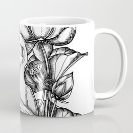 Chinese egret with lotus flowers Coffee Mug