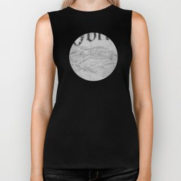Storm at Sea in Black and White Biker Tank