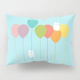 Fluffy bunnies and the rainbow balloons Pillow Sham