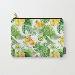 Watercolor tropical leaves and fruit lemon, kiwi. Carry-All Pouch