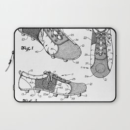 Soccer Boots Patent - Football Boots Art - Black And White Laptop Sleeve