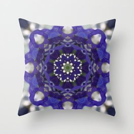 Blue columbine mandala 1 Throw Pillow