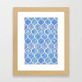 Cornflower Blue Moroccan Hand Painted Watercolor Pattern Framed Art Print