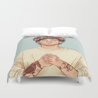 coconutwishes Duvet Covers featuring Tommo Flower crown by Coconut Wishes