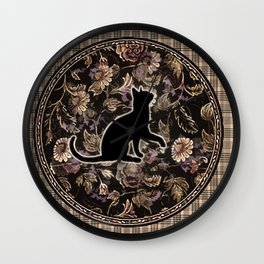 square black floral kitty Wall Clock