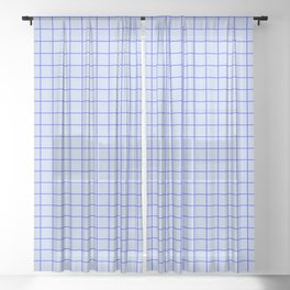 Grid Pattern - double blue - more colors Sheer Curtain