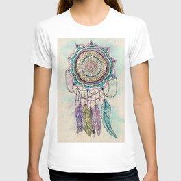 Modern tribal hand paint dreamcatcher mandala design T-shirt