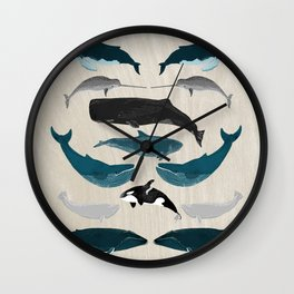 Whales - Pod of Whales Print by Andrea Lauren Wall Clock