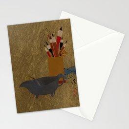 Kettle and Box with Paint Brushes , Shibata Zeshin Stationery Cards