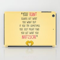 nietzsche iPad Cases featuring Hedwig, Kant & Nietzsche by byebyesally
