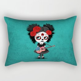 Day of the Dead Girl Playing American Flag Guitar Rectangular Pillow