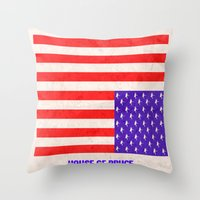 house of cards Throw Pillows featuring HOUSE OF CARDS....HOUSE OF BRUCE!  by Rising Trout Design