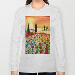 Tuscan Field of Poppies Long Sleeve T-shirt