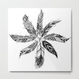 Sol de plumas Metal Print