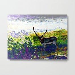 Psychedelic Rain Deer Metal Print