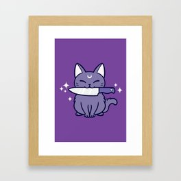 Black Knife Kitten 02 Framed Art Print