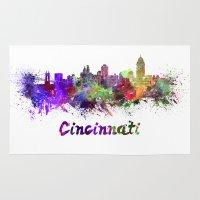 cincinnati Area & Throw Rugs featuring Cincinnati skyline in watercolor by Paulrommer