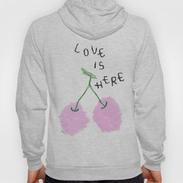 Love Is Here - Cherry Painting Fruit Illustration Food Kitchen Love Wedding Couple Marriage Gift Hoody