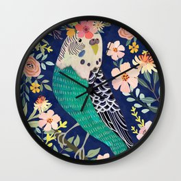 Parakeet with Floral Crown Wall Clock