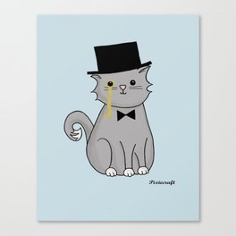 Monocle Kitty Illustration in Blue Canvas Print