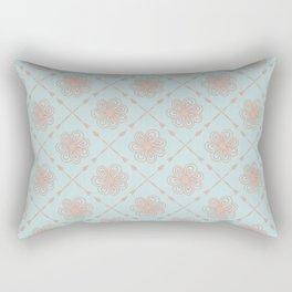 Modern Farmhouse Flowers and Arrows in Southwestern Santa Fe Terracotta and Turquoise Rectangular Pillow