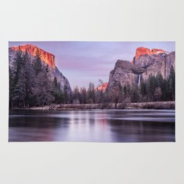 Yosemite National park sunset Rug