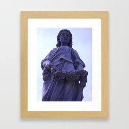 Female gravestone statue with garland Framed Art Print