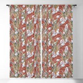 White Crocuses, Spring Flowers, Botanical Floral Pattern, Burnt Sienna Blackout Curtain
