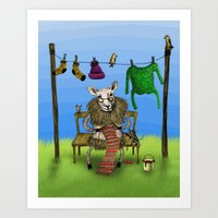 sheep Art Prints featuring Sheep by Anna Shell