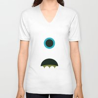 mike wrobel V-neck T-shirts featuring Mike Wazowski by Adrian Mentus