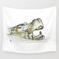 hippo Wall Tapestries featuring Hippo by Ursula Rodgers