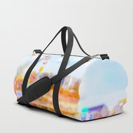 Santa Monica pier, California, USA with colorful bokeh abstract Duffle Bag