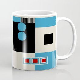 Abstract in Blue, Black, Red and Beige. See Companion Piece Coffee Mug