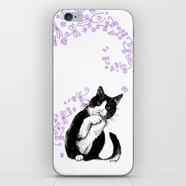 Tuxedo cat and dragonflies iPhone Skin