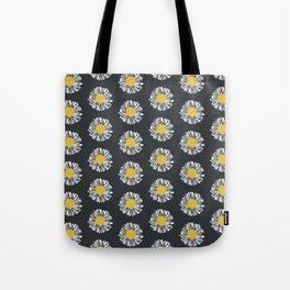 Daisy pattern basic flowers floral blossom botanical print charlotte winter dark color Tote Bag