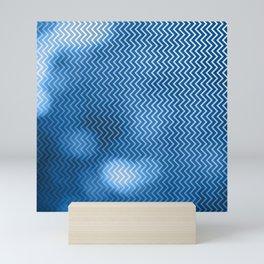 Snorkel blue chevron pattern with bokeh texture Mini Art Print