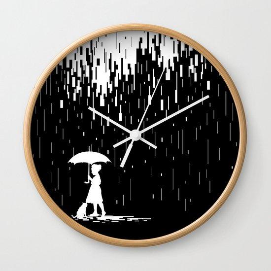 Pixel Rain Wall Clock