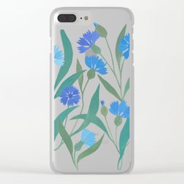 Cornflower field on bright blue Clear iPhone Case
