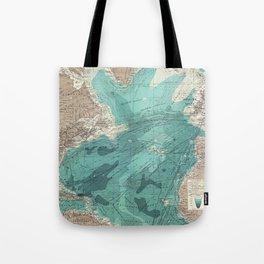 Vintage Green Transatlantic Mapping Tote Bag